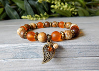 Autumn Bracelet with a Leaf Charm and Natural  Beads