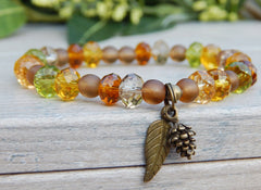 fall colors autumn jewelry leaf bracelet