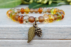 beaded autumn bracelet with fall charms