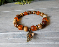 Autumn Bracelet with a Leaf Charm and Natural Stone Beads