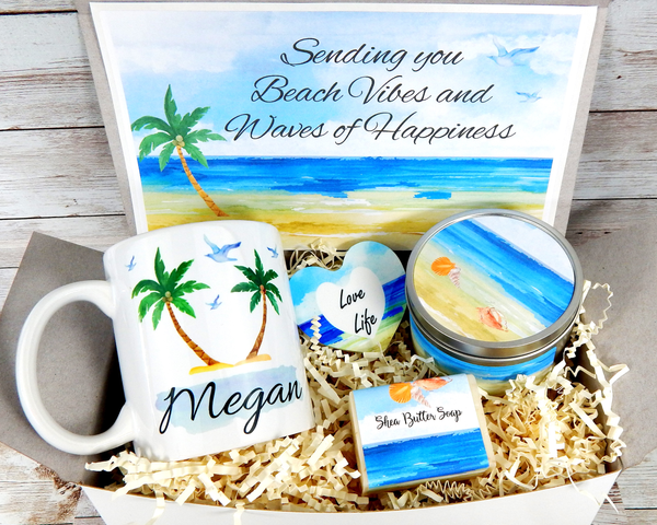 beach vibes and waves of happiness gift basket
