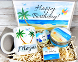 beach themed birthday gift basket to send