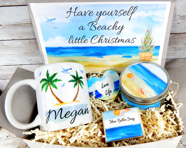 beachy little christmas gift basket