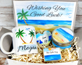 good luck gift basket to send beach theme