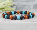 beaded wood bracelet for men handmade jewelry