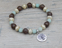 gemstone bracelet tree of life charm yoga jewelry