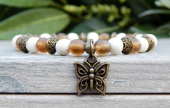 butterfly charm beaded bracelet brown and white