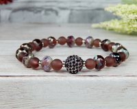 violet bead bracelet high quality beads pave focal