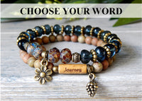 Nature beaded bracelet with inspiration message word