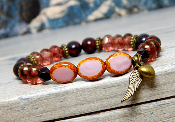 pink boho bracelet angel wing jewelry for women