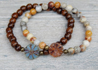 beaded bracelets with daisy focal beads nature jewelry