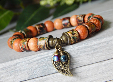 wooden bead bracelet leaf autumn fashion