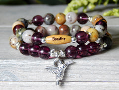 purple beaded inspirational hummingbird bracelet