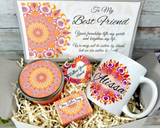 best friend gift basket with mandala design