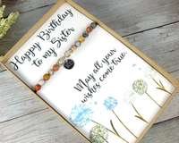 Birthday Card with Bracelet for Sister - Happy Birthday Sister Custom Jewelry - Engraved Gift