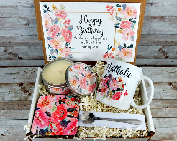 Pink Birthday Gift Basket with Personalized Pink Flower Mug