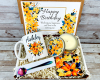 Yellow Flower Gift Basket for Her Birthday with Coffee Mug