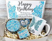 birthday gift basket blue themed butterfly mug