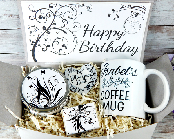 birthday gift basket black and white