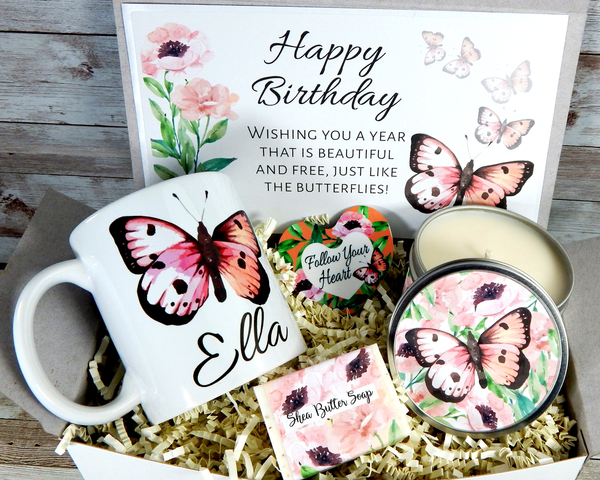 butterfly themed birthday gift basket with personalized mug