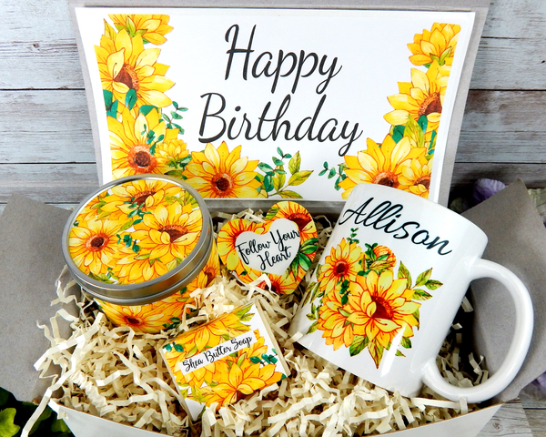 sunflower themed gift basket