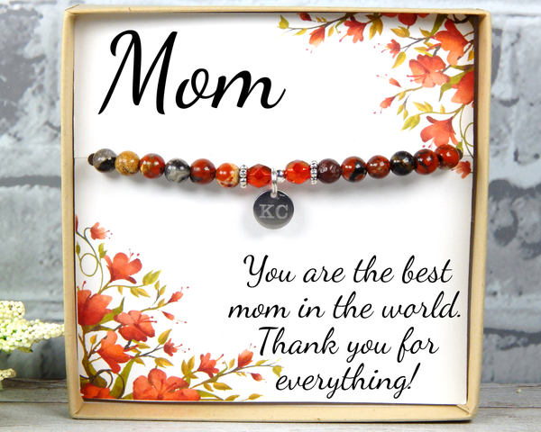 Red Personalized Bracelet for Mom - Heartfelt Mom Card for Mother Day or Mom's Birthday