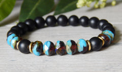 blue and black beaded gemstone bracelet