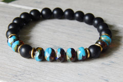black onyx bracelet with blue brown glass beads