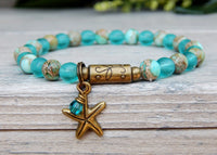 blue beaded bracelet with starfish charm