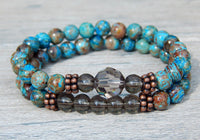 blue jewelry beaded bracelets set of 2