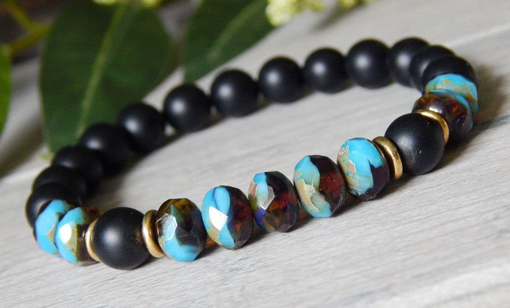 black onyx gemstone beaded bracelet
