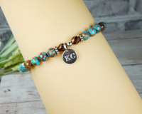 initial charm bracelet personalized gift for her turquoise  jewelry