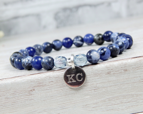 personalized bracelet with navy blue bead sodalite gemstone jewelry