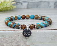 engraved personalized blue stone bracelet for daughter