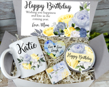 birthday gift basket personalized for women mug candle soap