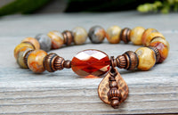 beaded bohemian agate gemstone bracelet