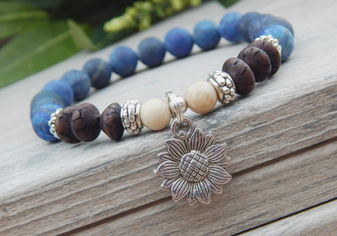Blue and Brown Sunflower Gemstone Bracelet