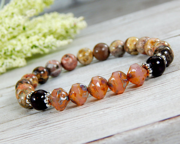 jasper gemstone bracelet boho chic jewelry for women
