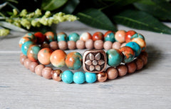 orange and turquoise bracelets