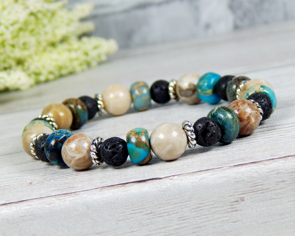 beaded gemstone bracelet for women lava jewelry