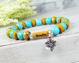 breathe bracelet yoga jewelry lotus flower bracelet