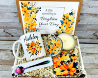 Yellow Flower Gift Basket to Brighten Your Day with Custom Coffee Mug