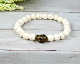 white beaded bracelet for men buddha jewelry
