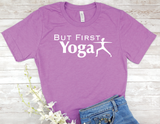 but first yoga purple t-shirt for women