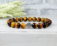tiger eye gemstone bracelet for men with celtic knot