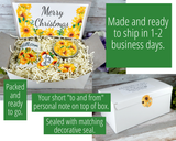 christmas gift box for women with sunflowers