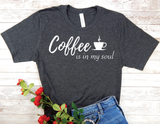 coffee lover t-shirt - black shirt coffee is in my soul