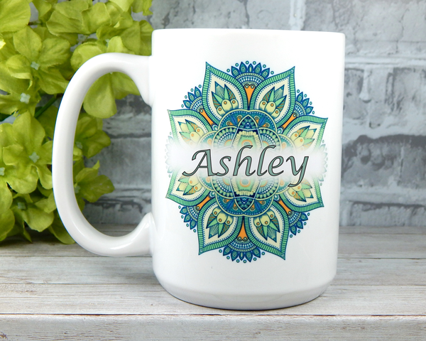 personalized coffee mug with mandala graphic