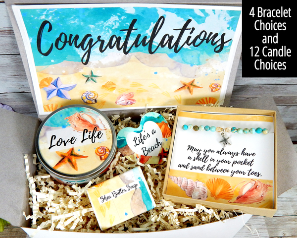 beach themed congratulations gift basket
