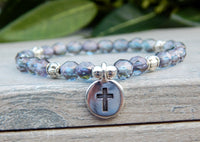 purple crystal bracelet with cross charm